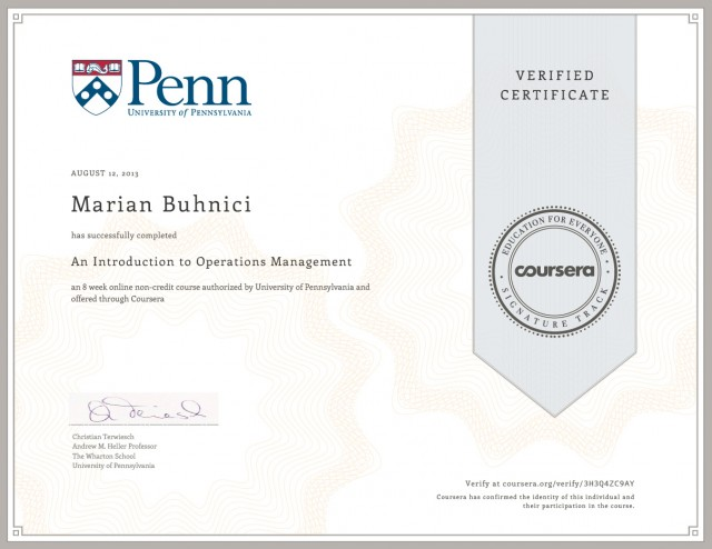 An Introduction to Operations Management Certificate